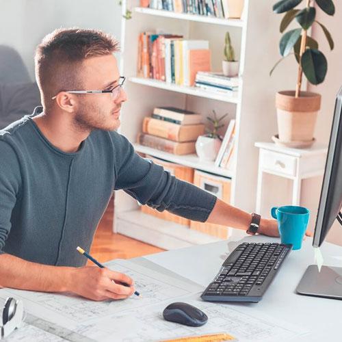 Home office para colaborar en linea